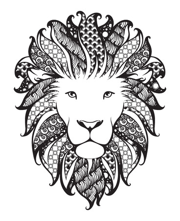 Linear stylized lion. Black and white graphic. Vector illustration can be used as design for tattoo, t-shirt, bag, poster, postcard Stock Illustratie