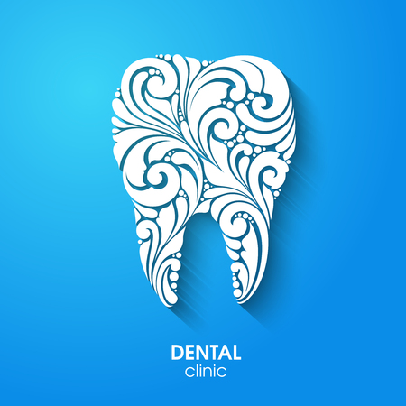 Abstract teeth silhouette. Ornate floral white tooth symbol on blue background. Medical dentist dental clinic sign icon logo