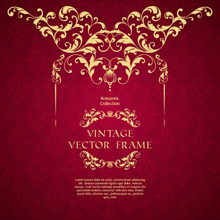Vintage template with pattern ornamental border and decorative frame