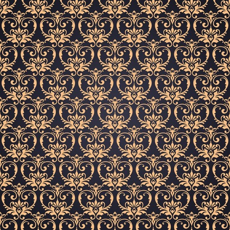 Vector gold ornate damask background in Eastern style. Seamless abstract decorative elegant pattern Stock Illustratie