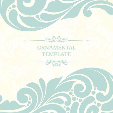 Ornamental background template design. book illustration style, card