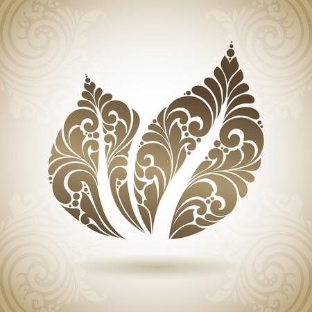 Ornamental leaf icon logo. Decorative eco symbol on a background with pattern