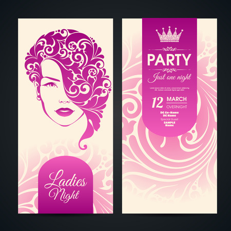Party invitation banners design with ornate girl and pattern background. Ladies night party Stock Illustratie