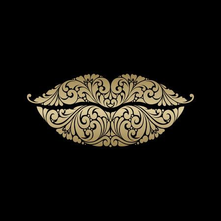 Ornate lips icon logo.seductive air kiss. Stock Illustratie