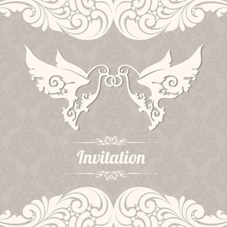 Couple of doves with rings on background with lace pattern. Two white abstract birds. Ornamental borders elegant design element wedding invitation
