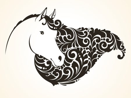 Ornamental decorative horse with a beautiful mane.