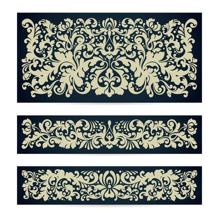 Vector set of templates with ornamental damask pattern decor composition Vintage background for wedding invitation design, Greeting Card, banner, packaging.