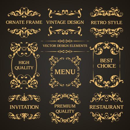 Vector set of vintage elegant decorative ornamental page decoration frames borders calligraphic design elements for invitation, congratulation, greeting card, menu, certificate