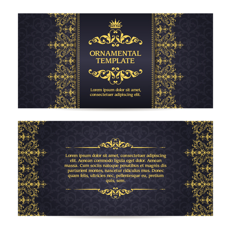 Ornate vector set banners in Eastern style Template with ornamental gold frame and patterned background. Elegant wedding invitation design, Greeting Card, banners