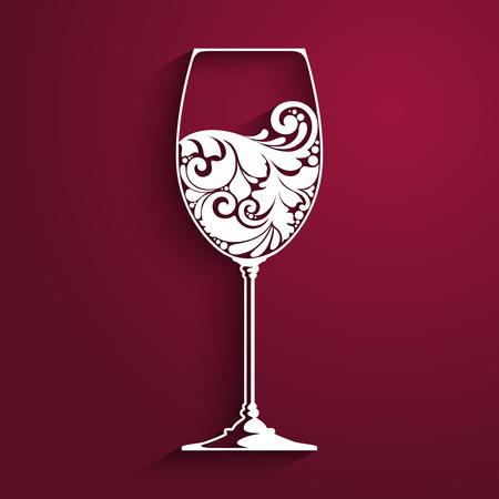 Ornate glass of wine. Vector element for wine list, menu design template. Vector illustration