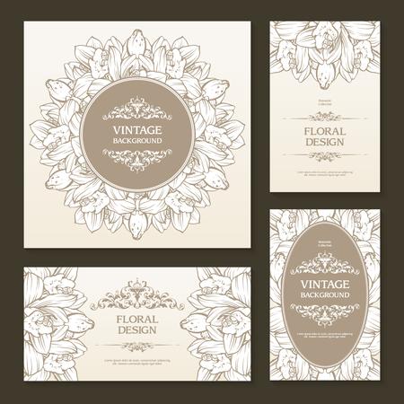 Vector set of vintage floral banners, cards, invitation, celebration, wedding templates Orchid and ornamental design elements. Vintage design.