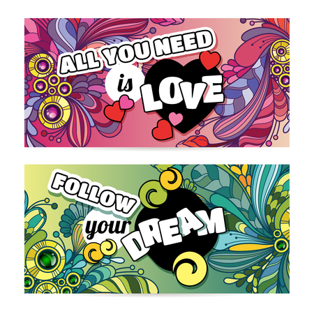 Vector colorful banner templates set with abstract doodles design background and inspiration text. Life is beautiful. Be filled with joy.