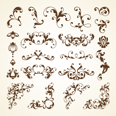 Vector set of vintage decorative ornamental page decoration calligraphic design elements for invitation, pattern, wedding template, congratulation and greeting card