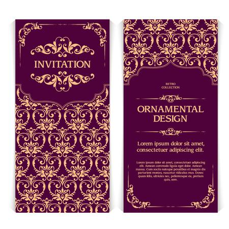 Vector set of vertical banners with ornamental frame and seamless patterned background. Wedding invitation design, Greeting Card Template in Eastern style with gold pattern