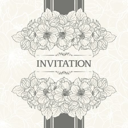 Floral background design in vintage style. Vector botanical illustration. Template greeting card, wedding invitation banner with spring flowers. Sketch linear cherry blossom sakura flowers.