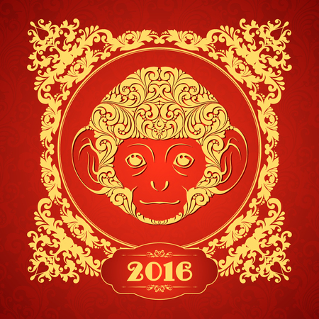 Ornamental template with golden frame and decorative monkey. Symbol of 2016 Ornate animal pattern design Red monkey. Stock Illustratie