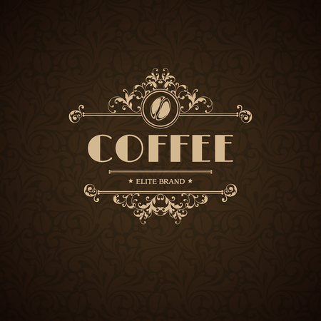 Vector illustration icon coffee house, coffee shop, cafe, menu, business sign, identity, branding design element in vintage elegant style Template flourishes calligraphic frame and coffee bean icon. Stock Illustratie
