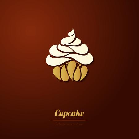 Vector cupcake icon logo Abstract cupcake illustration.