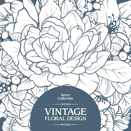 Vintage ornamental frame floral background design. Vector botanical illustration. Template card invitation banner with beautiful flowers. Sketch linear blooming garden