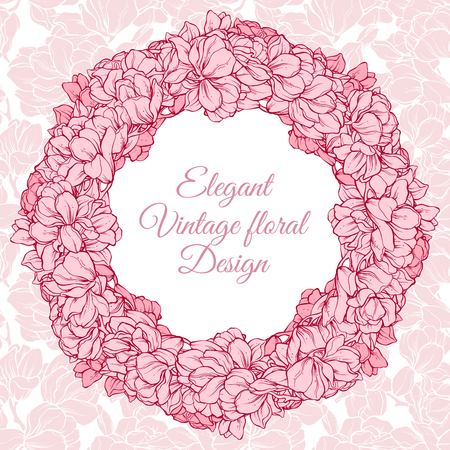 Vintage floral round frame. Vector illustration wreath with flowers . Template retro greeting card invitation banner with spring flowers. Sketch linear magnolia blossom Stock Illustratie