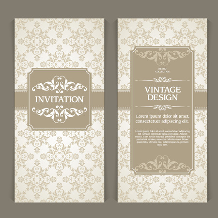 Vector set of vertical banners with ornamental frame and seamless patterned background. Wedding invitation design, Greeting Card, packaging template in vintage style