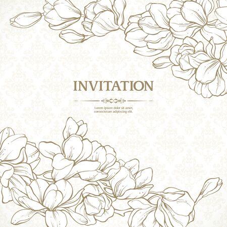 Vector plantilla vintage oro elementos de diseño floral y fondo estampado. Diseño de invitación de boda de encaje elegante, tarjeta de visita, banner con flores de magnolia en estilo clásico Ilustración de vector