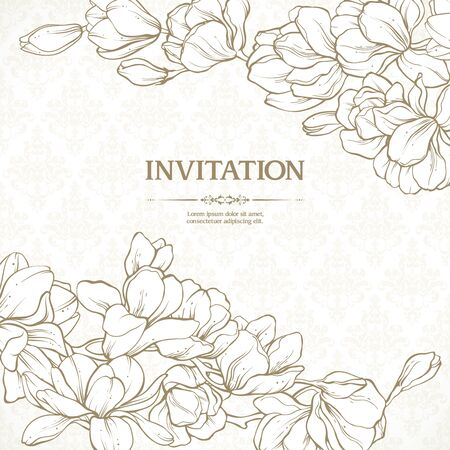 Vector vintage template gold floral design elements and patterned background. Elegant lace wedding invitation design, business card, banner with magnolia flowers in classic style Векторная Иллюстрация