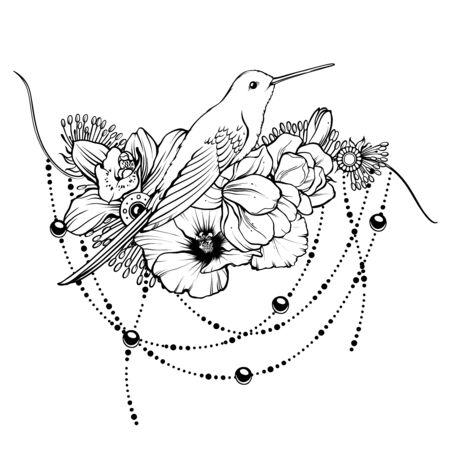 Floral magic symbolic art in boho style. Vektorgrafik