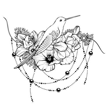 Floral magic symbolic art in boho style. Vektoros illusztráció