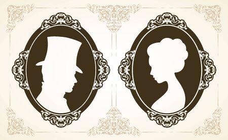 Male and female profile in classic Victorian style. Vettoriali