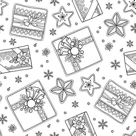 Seamless pattern in doodle style. Floral, ornate, decorative, tribal, Christmas decor. Black and white background. Christmas presents, stars. hand drawn coloring book page  イラスト・ベクター素材
