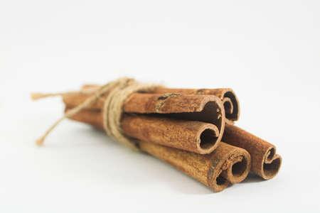 Cinnamon stick in white background