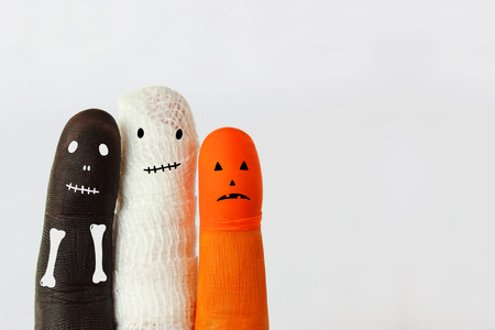 pumkin: Funny halloween characters - space for text Stock Photo