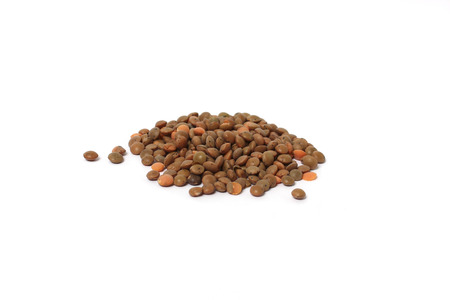 Brown lentils - isolated on white