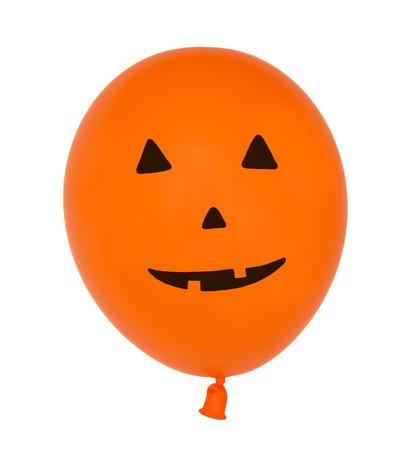 pumpkin face: Halloween balloon - Smiling pumpkin face - isolated on white Stock Photo