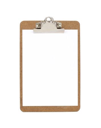 portapapeles: Portapapeles de madera con el papel en blanco Foto de archivo