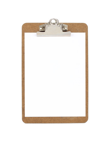 Wooden clipboard with blank paper photo