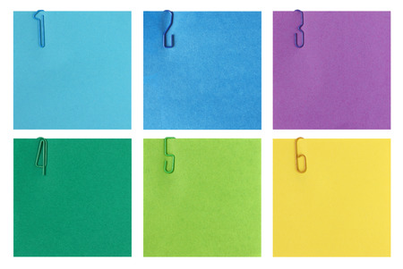 Six steps background for step-by-step instructions - Colorful post-it notes with numbers 1 to 6 - Stock Photo