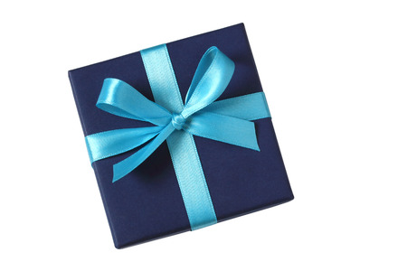 Blue giftbox with baby blue bow - top view - isolated on white background