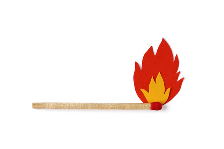 Matchstick on fire with red and yellow flames wallpaper photo