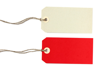 label tag: Two blank gift tags in grey and red - isolated on white background