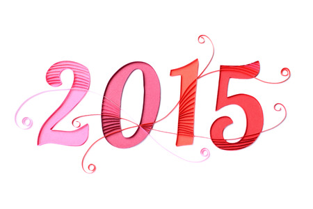 2015 new years graphic - handmade floral paper artwork on white background photo
