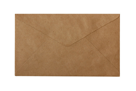 Back of blank brown paper envelope closed - isolated on white background photo