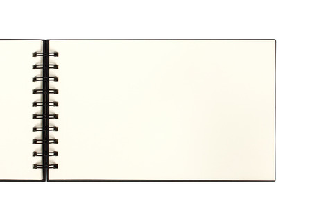 Top view of blank open notebook or sketchbook - space for your text