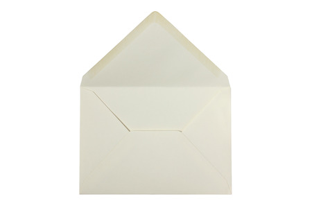 White envelope open and empty - isolated on white photo