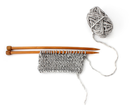 Knitting a scarf gray