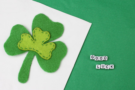 three leaf clover: Good luck with three leaf clover on green background