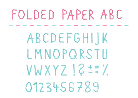 folded paper: Folded paper ABC font