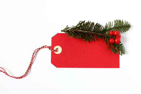 sale tag: Red christmas gift tag Stock Photo