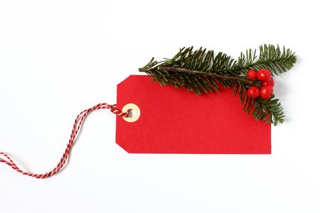 Red vánoční dárek tag Reklamní fotografie
